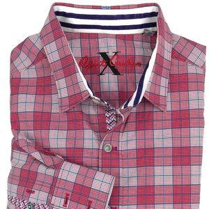 Robert Graham Pink Plaid Flip Cuffs Shirt Sz Large
